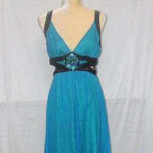 BeBe Turquoise Cut-out Sides Formal Dress Small